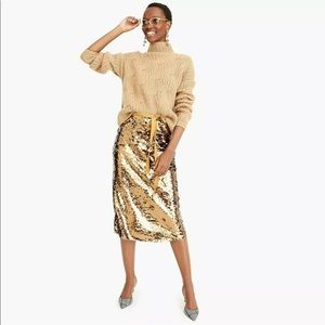 NEW J Crew Sequin Skirt 2 Bronze Gold Midi